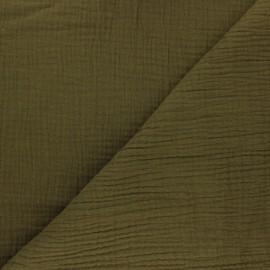 Tissu triple gaze de coton uni - vert olive x 10cm