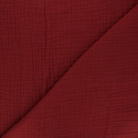 Plain Triple gauze fabric - Ruby red x 10cm