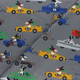 Cotton Jersey fabric -  dark grey Dog Race x 10cm