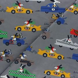 Tissu jersey Dog Race - gris foncé x 10cm