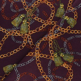 Tissu Viscose Magellan - lie de vin x 10 cm