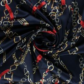 Tissu satin élasthanne Vasco - bleu marine x 10cm