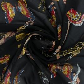 Tissu mousseline Marco Polo - noir x 50cm