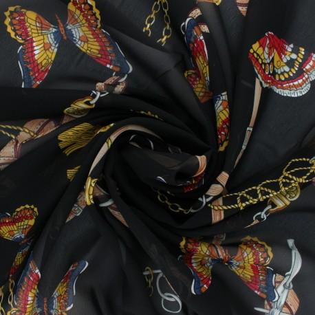 Muslin Fabric - black Gallia x 50cm