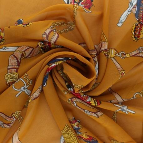 Muslin Fabric - ochre Marco Polo x 50cm
