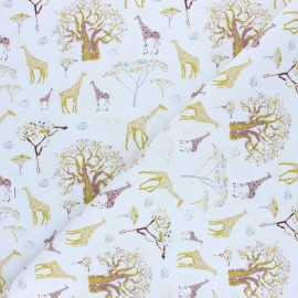 Tissu coton cretonne Kenya - vert clair x 10cm
