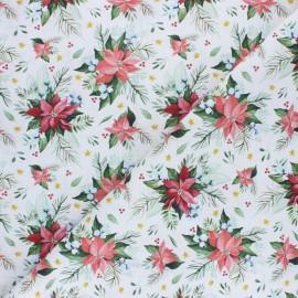 Tissu coton cretonne Fleurs de Noel - Rose x 10cm
