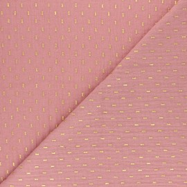 Double cotton gauze fabric - Soft pink gold dash x 10cm