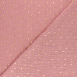 Tissu double gaze de coton Pointillé doré - rose thé x 10cm