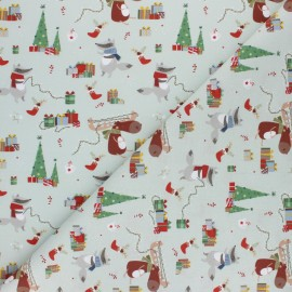 Cretonne Cotton fabric - Green Christmas animals x 10cm