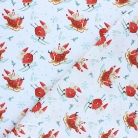 Tissu coton cretonne Christmas ohohoh - rouge x 10cm