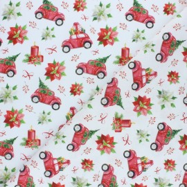 Cretonne Cotton fabric - Red Christmas mood x 10cm