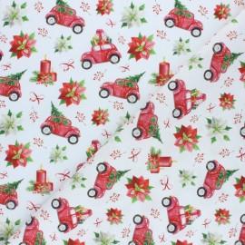 Tissu coton cretonne Christmas mood - rouge x 10cm