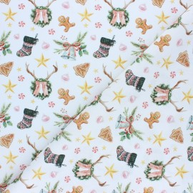 Tissu coton cretonne Christmas decoration - vert x 10cm