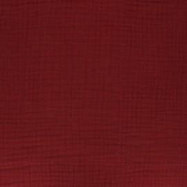 Tissu double gaze de coton uni - Grenat x 10cm
