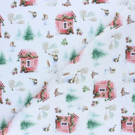 Tissu coton cretonne Christmas home - blanc x 10cm