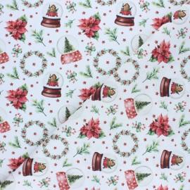Cretonne Cotton fabric - Red Christmas Snow Globe x 10cm