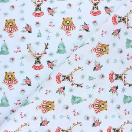 Tissu coton cretonne Christmas Bear & Deer - rouge x 10cm