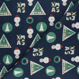 Cretonne Cotton fabric - Navy blue Xmas x 10cm