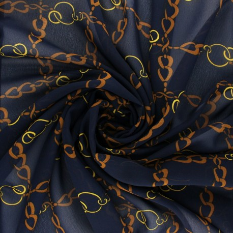 Tissu mousseline Conti - bleu marine x 50cm