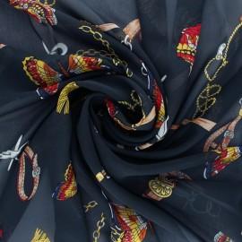 Tissu mousseline Marco Polo - bleu marine x 50cm