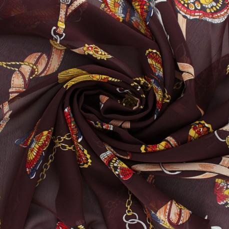 Tissu mousseline Marco Polo - lie de vin x 50cm