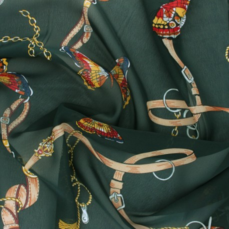 Tissu mousseline Marco Polo - vert x 50cm