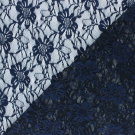 Lace Fabric - navy blue Méria x 10cm