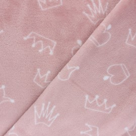 Starred Flanell fleece fabric - white x 10cm