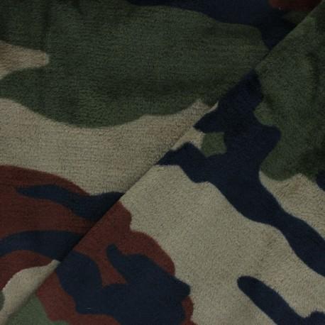 Flanell fleece fabric - camouflage khaki green x 10cm