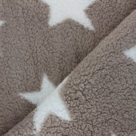 Tissu Fourrure mouton réversible étoile - jaune x 10cm