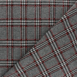 Knitted jersey fabric - Red Scottish check x 10cm
