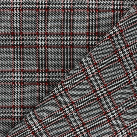 Tissu jersey maille Prince de Galles - gris x 10cm