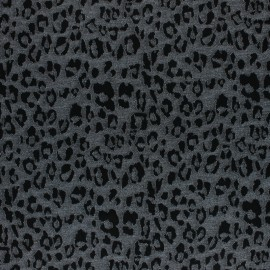 Lurex Light Knitted jersey fabric - silver/black leopard x 10cm