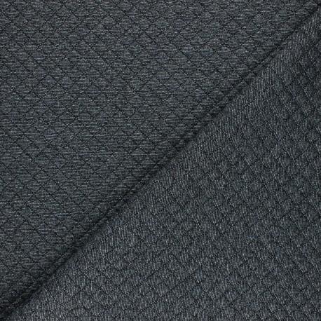 Tissu jersey matelassé simple face losanges - Noir x10cm