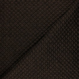 Quilted jersey fabric single-sided Diamond - Black/copper x 10cm