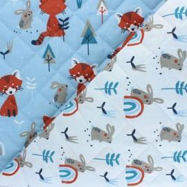 Tissu matelassé Réversible Padwan/Ladino - bleu ciel x 10cm