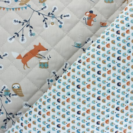 Quilted cotton fabric - beige Watree/Coboni x 10cm