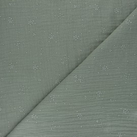 Double cotton gauze fabric - khaki green Silver Spark x 10cm
