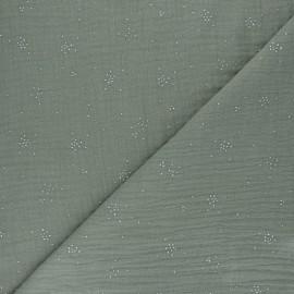 Tissu double gaze de coton Etincelle argentée - vert kaki x 10cm