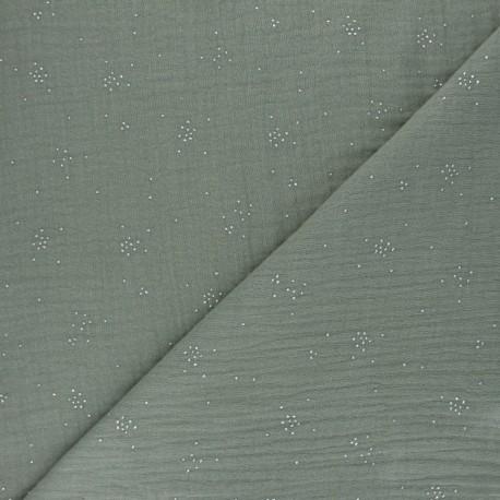 Double cotton gauze fabric - khaki green Silver Spark x 10cm