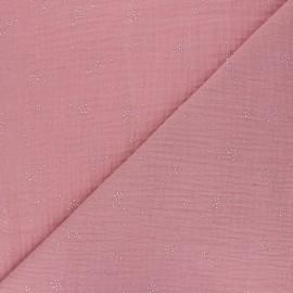 Tissu double gaze de coton Etincelle argentée - rose thé x 10cm