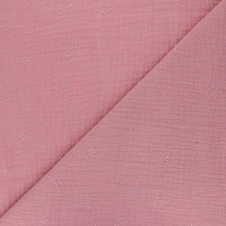 Double cotton gauze fabric - soft pink Silver Spark x 10cm