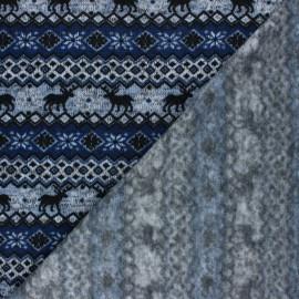 Christmas sweater fabric - Navy blue Jacquard x 10 cm