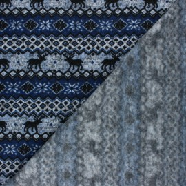 Tissu pull Christmas Jacquard bleu marine x 10cm