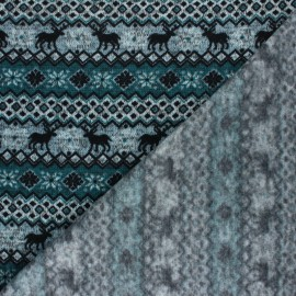 Christmas sweater fabric - Peacock green Jacquard x 10 cm