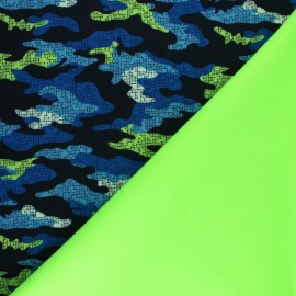 Tissu Softshell Hunter - bleu/vert x 10cm