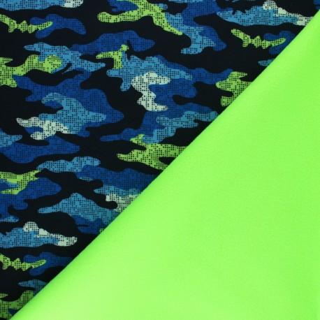 Water-repellent Neon Hunter Softshell fabric – blue/green x 10cm