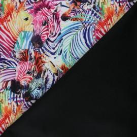 Tissu Softshell Rainbow zebra - blanc x 10cm
