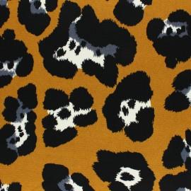 Crepe fabric - mustard Leopardino x 10cm